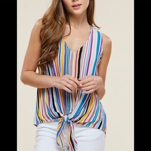 New Arrival NWT Tie Stripe Top